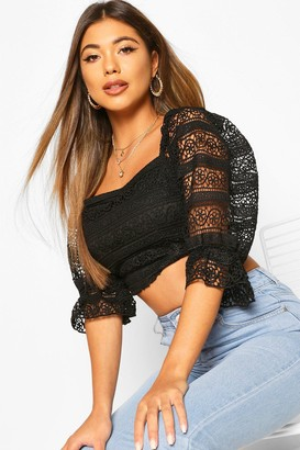 boohoo Lace 1/4 Sleeve Strappy Back Top