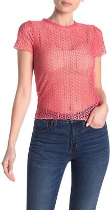Planet Gold Neon Crochet Net Crop Top