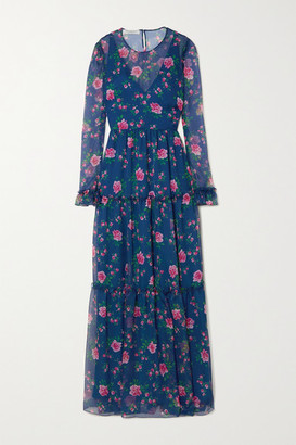 Philosophy di Lorenzo Serafini Tiered Floral-print Chiffon Maxi Dress - Blue