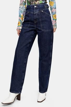 Topshop Indigo V Panel Wide Leg Jeans