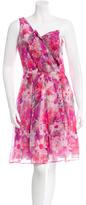 David Meister Silk Floral One-Shoulder Dress