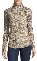 Majestic Paris for Neiman Marcus Leopard-Print Cotton/Cashmere Turtleneck