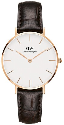 Daniel Wellington Petite York Rose Goldtone Stainless Steel Croc-Embossed Leather-Strap Watch