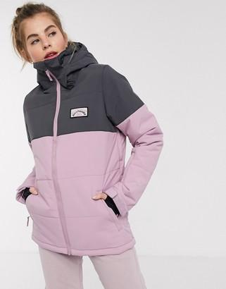 Billabong Down Rider ski jacket in mauve