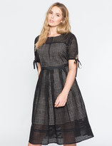 ELOQUII Plus Size Studio Eyelet Midi Dress