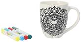 Dexam Just Add Colour Mandala Mania Large Mug, White/Black, 530ml