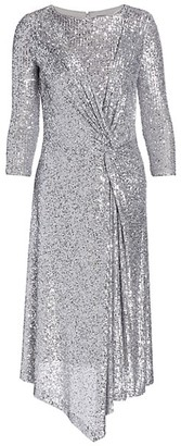 St. John Starlight Sequin Mesh Side Knot Midi Dress