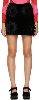 Paula Canovas Del Vas Black Padded Flower Mini Skirt