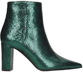 Marc Ellis High Heels Ankle Boots In Green Leather