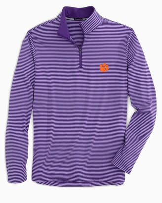 Southern Tide Clemson Tigers Striped Quarter Zip Pullover