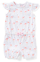 Starting Out Baby Girls 12-24 Months Flutter-Sleeve Flamingo-Print Shortall