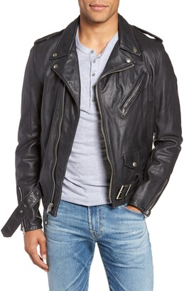 Schott NYC Hand Vintaged Cowhide Leather Motorcycle Jacket