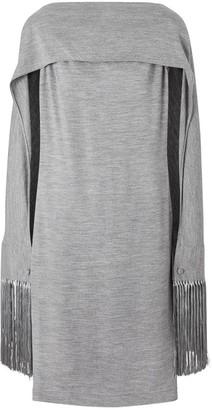 Burberry Merino Wool Sleeveless Dress With Fringed Capelet