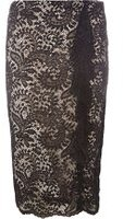 Dorothy Perkins Womens Black And Nude Lace Skirt- Black