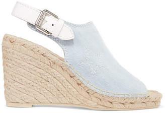 Stella McCartney Embroidered Denim Espadrille Wedge Sandals - Light denim