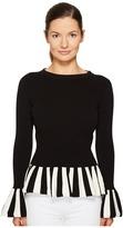 Moschino Striped Trim Peplum Knit Women's Clothing