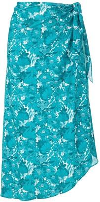 Adriana Degreas Floral-Print Tie-Waist Skirt