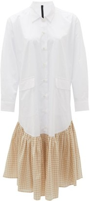Sara Lanzi Checked Ruffled-hem Cotton Shirt Dress - White Multi