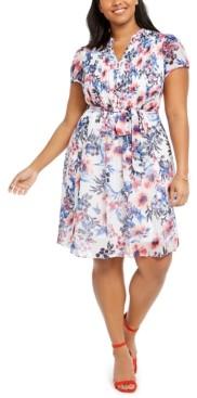 MSK Plus Size Floral Pintuck Chiffon Dress