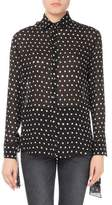 Saint Laurent Lipstick Dot Silk Tie-Sleeve Blouse