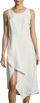 Neiman Marcus Pinstriped Scoop-Neck Linen Dress, White/Black