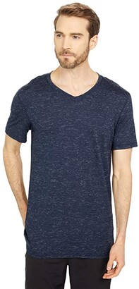 Smartwool Everyday Exploration Merino V-Neck Tee (Deep Navy Heather) Men's Clothing