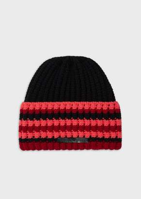 Emporio Armani Wool-Blend Beret With Openwork Knit Turn-Back Brim