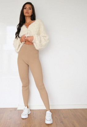 Missguided Camel Basic Highwaisted Knit Leggings
