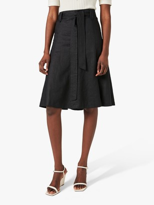 Jigsaw Linen Fit and Flare Midi Skirt