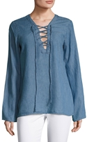 Gold Hawk Women's Lace Up Chambray Top