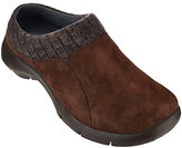 Dansko As Is Suede Stain Resistant Clogs w/Knit Trimmed Detail - Emily