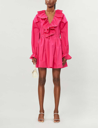 Self-Portrait Ruffled cotton-poplin mini dress