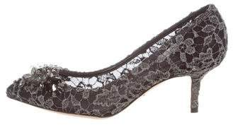 Dolce & Gabbana Embellished Lace Pumps w/ Tags