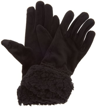 Cuddl Duds Double Plush Velour Gloves w/ Faux Sherpa Cuff