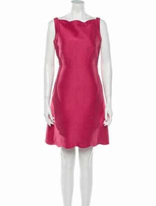 Valentino Bateau Neckline Knee-Length Dress Pink