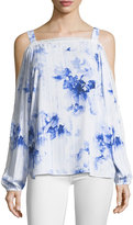 T Tahari Floral-Print Cold-Shoulder Blouse