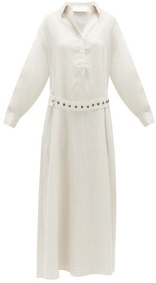ASCENO Porto Linen Maxi Dress - Ivory