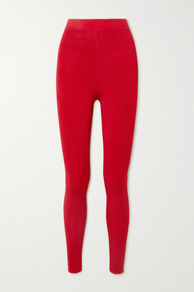AZ Factory - Mybody Paneled Stretch-knit Leggings - Red