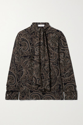 Michael Kors Collection Pussy-bow Paisley-print Silk-georgette Blouse - Army green