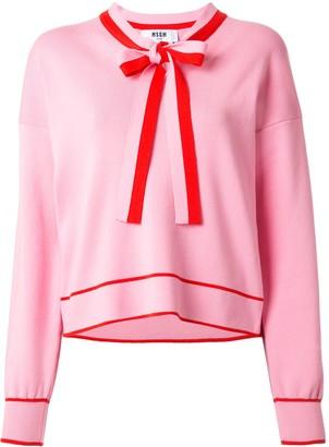 MSGM Ribbon-Embellished Cotton Sweatshirt