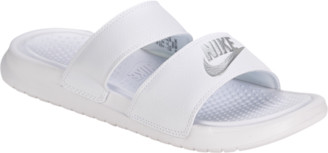 Nike Benassi Duo Ultra Slide Shoes - White / Metallic Silver