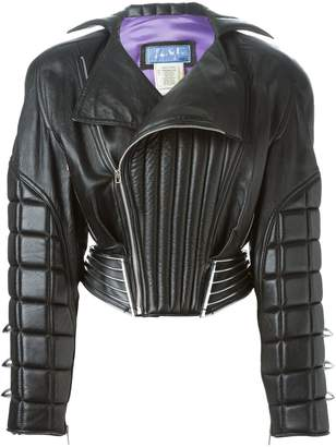 Thierry Mugler Pre-Owned leather padded bomber jacket