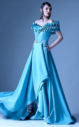 Gaby Charbachy Off Shoulder Belted Aqua Gown