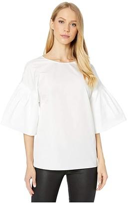 ADAM by Adam Lippes Flutter Sleeve Cotton Poplin Top (White) Women's Clothing