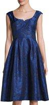Gabby Skye Sleeveless Floral-Print Jacquard Dress, Royal/Navy