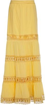 Charo Ruiz Ibiza Gathered Guipure Lace-trimmed Cotton-blend Mousseline Maxi Skirt