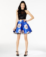 City Studios Juniors' 2-Pc. Lace Floral-Print Dress