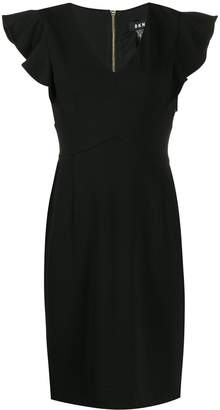 DKNY ruffle sleeve V-neck dress