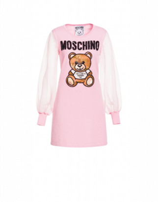 Moschino Cotton Dress Teddy Embroidery Woman Pink Size 38 It - (4 Us)