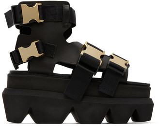 Sacai Black Platform Buckle Sandals